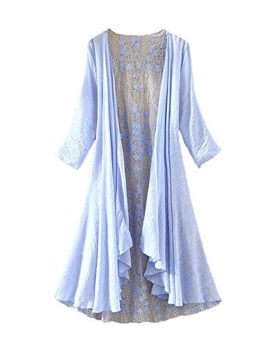 LifeWheel Thin Section Sunscreen Cardigan Jacket Long Section Lace Shirt sky blue medium