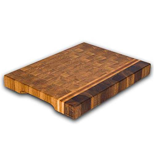 - End Grain Wood cutting board - Wood Chopping block | Large cutting board 16x12 Kitchen butcher block Antibacterial Oak cutting board non slip cutting board with feet | Kitchen Wooden chopping board