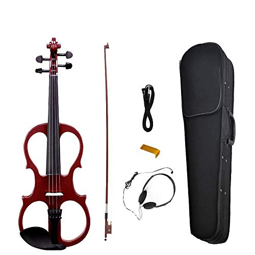 NAOMI Electric Violin Balance Sound Full Size 4/4 Electric Violin Fiddle Solid Wood High Level Electric Violin NEW SET RED by NAOMI