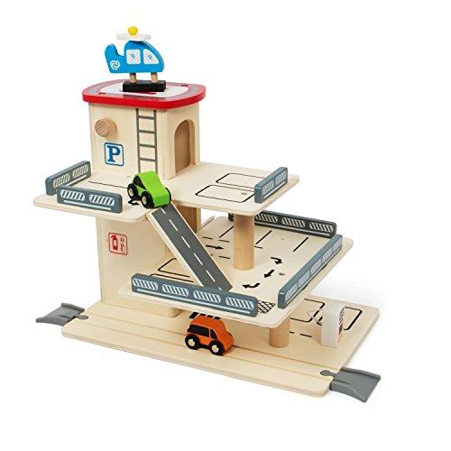 Kledio - Jeux en bois pour Enfants - Garage / Parking à étages pour s'amuser avec Ascenseur mécanique - Jouet en bois FSC® 100 %