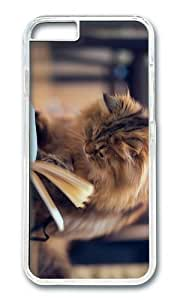 MOKSHOP Adorable Cat Book Hard Case Protective Shell Cell Phone Cover For Apple Iphone 6 (4.7 Inch) - PC Transparent