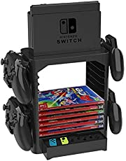 YICHUMY Multi-Function Game Card Storage Bracket Tower Holder Stand Shelf Controller Stand for Nintendo Switch with 4 Controller Holders &10 Layers Game Card Case Storage & 1 Drawer and Dock Stand