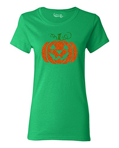 Glitter Jack O' Lantern Pumpkin Halloween Costume Womens T-Shirt Kelly Green 2XL ()