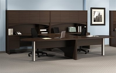 Peblo 2 Person Workstation, Laminate U Shape 2 Person Peninsula Office Desk  Workstation With Hutch