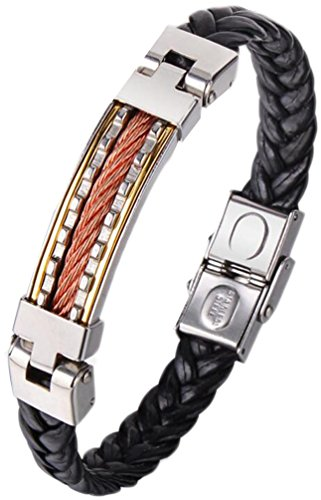 Gold Hand Woven Rope - Men's 316L Stainless Steel Bracelet Men's Hand-woven Leather Bracelet (Gold)