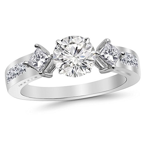 14K White Gold 1.45 CTW Round Cut Channel Set 3 Three Stone Princess Diamond Engagement Ring, J Color VS1-VS2 Clarity, 0.6 Ct - 3 Ring 40 Stone Round