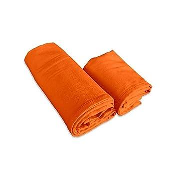 Juego de toallas de microfibra naranjas - 1 de cara + 1 de invitados: Amazon.es: Hogar