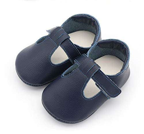 Rubber 6760 (donfohyx Baby First Highmary Jane Style Genuine Leather Baby Moccasins Rubber Sole Baby Shoes, Dark Blue, 3