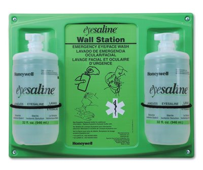 Fend-All Dual Bottle Sterile Saline Eyewash Wall Stations (Two 16 oz. Bottles) - AB-266-7-806 by Miller Supply Inc