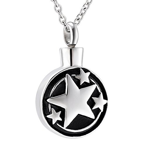 Round and Circle Star Shape Cremation Urn Necklace Memorial Ashes Keepsake for Funeral Pendant (Sliver) ()