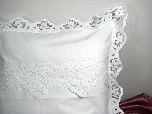 Nostalgie, romantische Bettwäsche Garnitur: Bettbezug 135 x 200 cm und Kissenbezug 80 x 80 cm mit Richelieu Spitze, Vintage, Shabby, Landhausstil