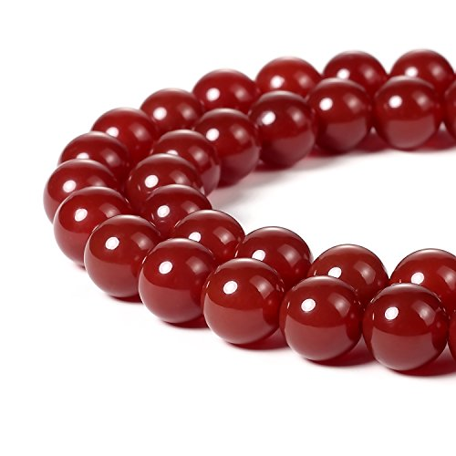 10 Mm Agate (BEADNOVA 10mm Natural Red Agate Gemstone Round Loose Beads for Jewelry Making (38-40pcs))