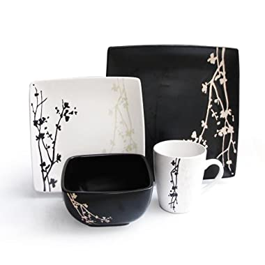 American Atelier 6027-16bw Twilight Blossom 16-Piece Dinnerware Set, Black