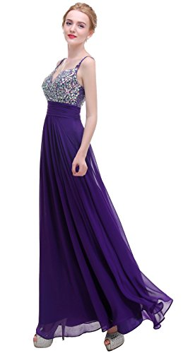 Prom Evening Beaded A Dark Straps Bridesmaid Long Bislu Dress Purple Chiffon Line Gown w8qR5Zxz6