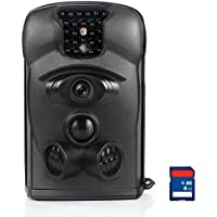 Bestok Trail Cams with 8G SD Card Waterproof Infrared PIR Sensor Hunting Tools for Hunters or Farm Watching Cam Equipment Night Vision No Flash in Dark Game Cam Scouting Camera
