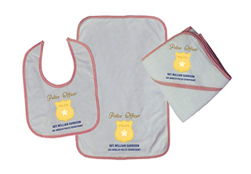 Personalized Custom Police Officer Police SGT Badge Cotton Boys-Girls Baby Bib-Burb-Towel Set - Red, One Size ()
