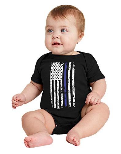 HAASE UNLIMITED Blue Line American Flag - Support Police Bodysuit (Black, 12 Months)