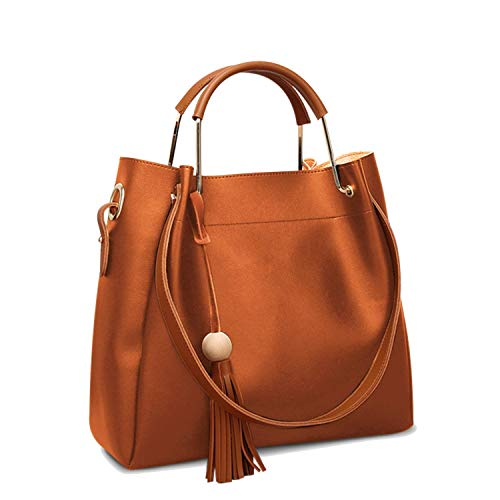 (Womens Hobo Bag Durable Leather Tote Messenger Bag Shoulder Handbag Crossbody Bags for Ladies (Camel))