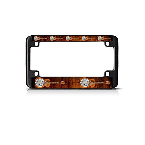 Dobro Musical Instrument Music Bike Black License Plate Frame Tag Holder -