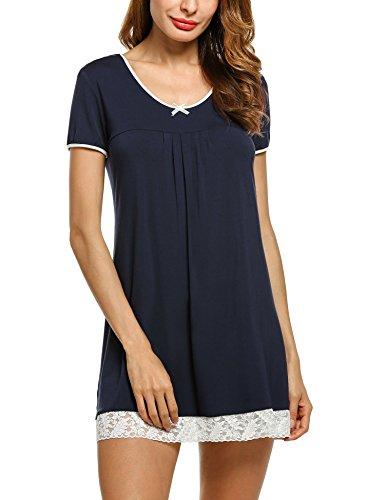corte Navy Maniche Camicia notte Unibelle Donna da Blu 1tqI0nwgx