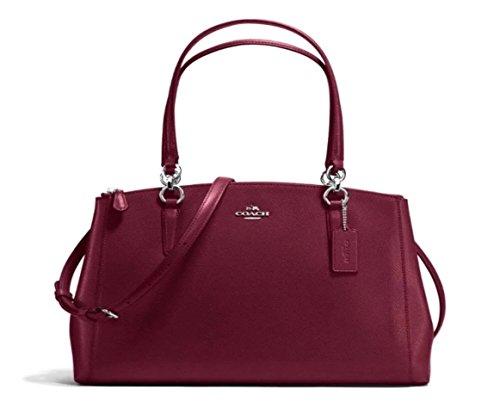 COACH Crossgrain Leather Christie Carryall Handbag (Burgundy)