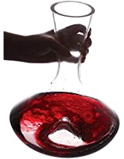 Vintorio Citadel Wine Decanter - Artisanally Hand Blown Lead-Free Crystal - Super Durable Sommelier's Wine Carafe with Aerating Punt Design and Silicone Stopper Lid