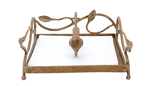 Creative Co-Op DE2752 Square Metal Napkin Holder with Bird, Gold