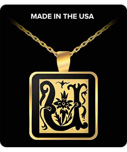 Initial Necklace - Monogram - Letter U - Gold Chain Square Pendant - For Men And Woman ()