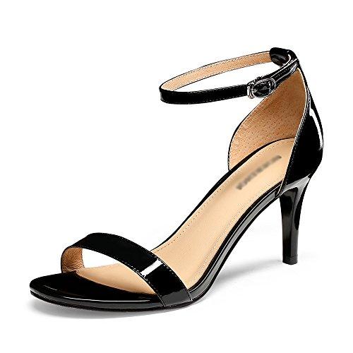 GYHDDP Sandalias de Tacón Alto para Mujer Sandalias Huecas con Tacón Sandalias de Tacón de Aguja Sandalias de Moda de Verano Negro