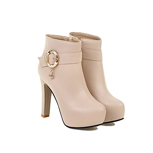 Zipper AgooLar Beige High Solid PU high Boots Ankle Women's Heels rrAznOwEq5