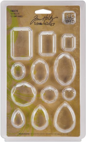Facets by Tim Holtz Idea-ology, 12 Facets and 12 Jump Rings, Various Sizes, Plastic and Metal, Clear, TH92871 (Tim Holtz Jump Rings)