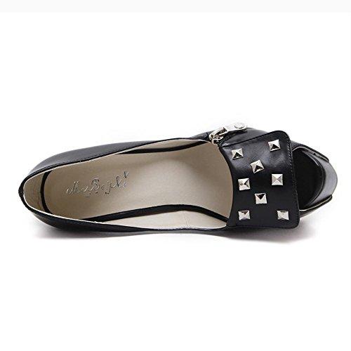 Mujer Los Zapatos De Decoración Remaches Black Boda Zipper Bola yc La Boca L Tacón Otoño Pescados Fvqx5U4nw
