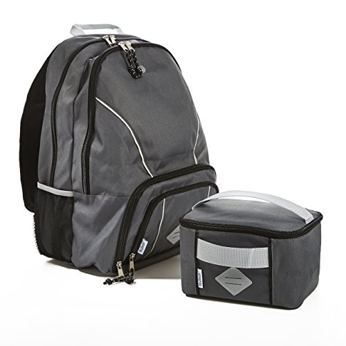 Fit & Fresh Backpack for Kids & Teens with Matching Insulated Lunch Bag, for School and Sports, Gray with Black Trim -
