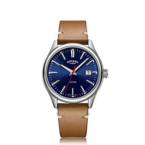 Rotary Men's Watch 40mm Oxford Blue Dial Brown Leather Strap GS05092/53