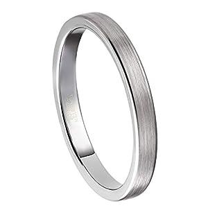 Frank S.Burton 3mm Womens Mens Silver Tungsten Rings Thin Matte Finish Wedding Bands Size 4-15