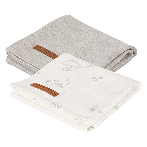 Little Dutch TE50320693 Musselin Swaddle Tuch Ocean wei/ß grau 70x70 cm 2er Set
