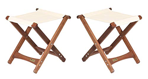 BYER OF MAINE, Pangean Stool, Wood Folding Stool, Easy to Fold and Carry, Perfect for Camping and Tailgating, Matches All Furniture in The Pangean Line, Natural, Two Pack