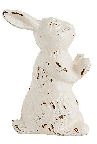 Rabbit Stopper (6 Inch Cast Iron Antique Distressed White Finish Rabbit Door Stopper)