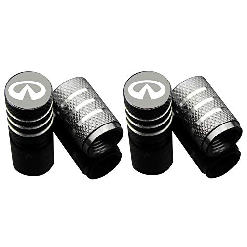 Car Tire Air Valve Caps- Auto Wheel Tyre Dust Stems Cover with Logo Emblem Waterproof Dust-Proof Universal fit for Cars, SUV, Truck, Motorcycles 4 Pieces ()