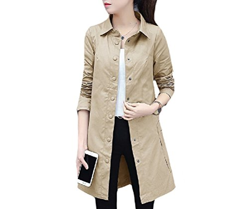 Abetteric Women Business Vintage Solid Color Oversize Jacket Trenchcoat Khaki L by Abetteric