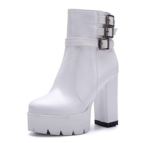 AgooLar Damen Hoher Absatz Rund Zehe PU Reißverschluss Stiefel, Weiß, 37