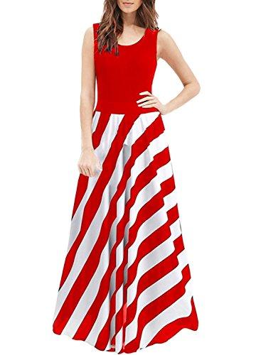 Azbro Mujer Moda Vestido de Noche Maxi Rayado sin Mangas Rojo