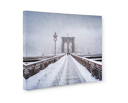 - Large Format Print, Canvas or Unframed, New York City Wall Art, Brooklyn Bridge Winter Walkway, NYC Decor, Brooklyn Snow'