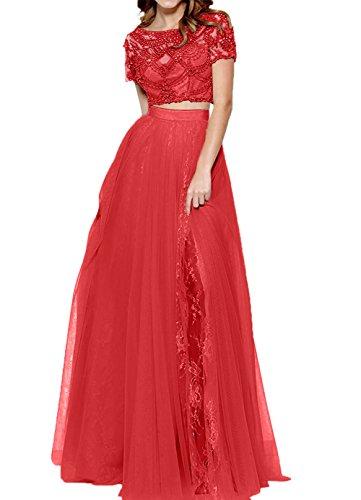 Spitze Romantisch Rot Abschlussballkleider Abendkleider Damen Kleid teilig Charmant Lang Promkleider Zwei x5w0OvBv