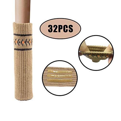 Leccod 32Packs Elastic Knitted Chair Leg Socks for Hardwood Floor, Non-Slip Strips Inside Table Leg Floor Protectors Chair Cover Caps Fit for Furniture Legs Girth 2.7 to 7 inches(Khaki)