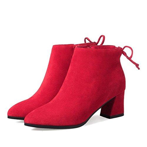 A Pelle Stivali con Ruvida Martin da Donna di Selvaggi Ladies Boots High Red Bassa Stivali Strato Ladies And Primo Stivali Heels GTYW Winter Punta Autumn Nuovo agRFZ6qa