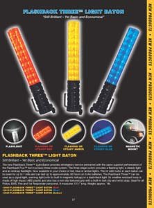 (LED 3-Stage Safety Baton, Amber/Clear Tip)