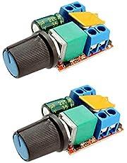 COVVY Mini DC Motor PWM Speed Controller 3V 6V 12V 24V 35V Speed Control Switch Speed Control Switch LED Dimmer 5A, Pack of 2