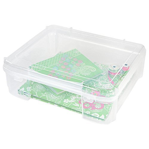 IRIS 14 in. x 14 in. Portable Project Organizer Case in Clear, great for Arts and Crafts, Scrapbooking Supplies Storage and Many More, Portable and Durable