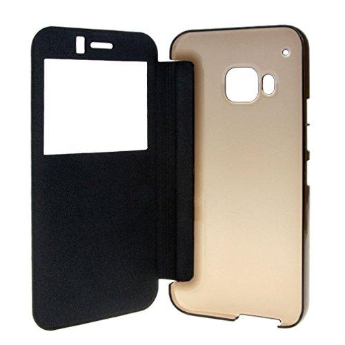 HTC One M9 case , APLUS ® Window PU Leather Flip Cover Case for HTC One M9 (2015) (HTC One M9 - black)
